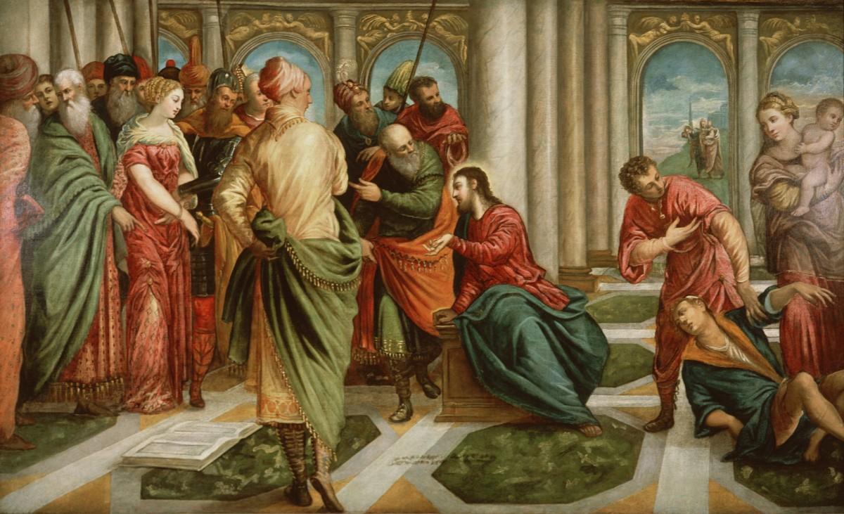 Foto 1 - Jesus e a Mulher pega em Adultério Episódio BíblicoPintura deTintoretto em TELA