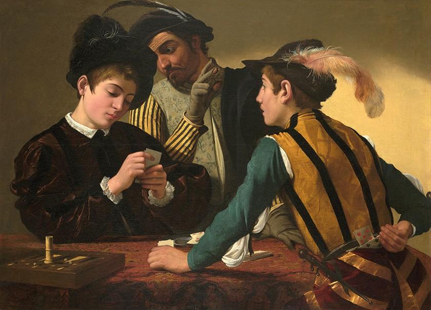 Foto 1 - Jogadores Cartas Roubo Pintura de Caravaggio em TELA