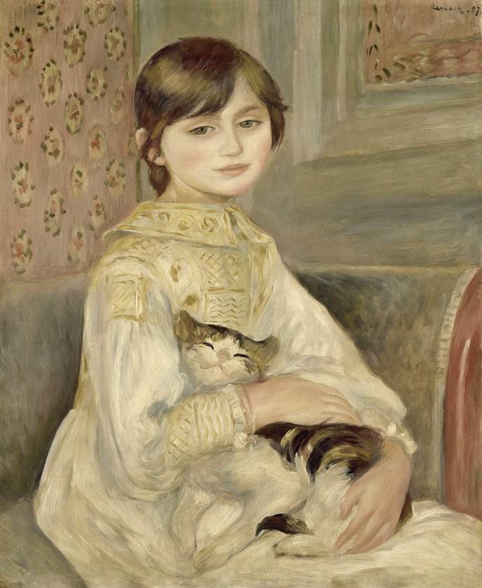 Foto 1 - Julie Manet Retrato Menina Sentadacom Gato no Colo Pintura de Pierre Auguste Renoir em TELA