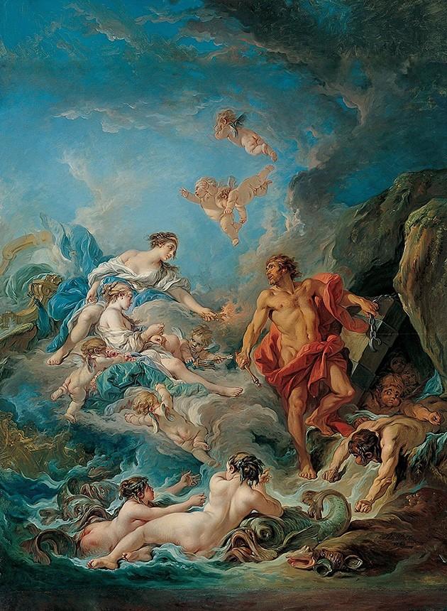 Foto 1 - Juno Pedindo a Éolo para Libertar os Ventos Deuses Mitologia Grega Pintura de François Boucher em TELA