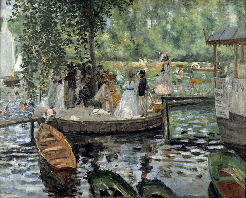 Foto 1 - La Grenouillère Lagoa do Sapo Passear eNadar no Verão em ParisPintura de Pierre Auguste Renoir em TELA