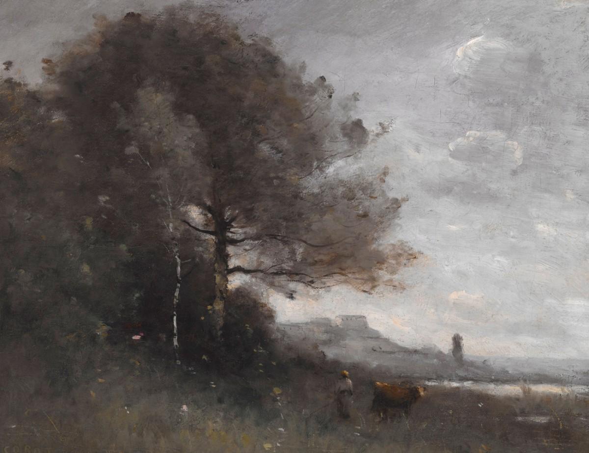 Foto 1 - Lembrança da Itália Paisagem Rural Camponesa com Vaca Gado Pintura de Camille Corot em TELA
