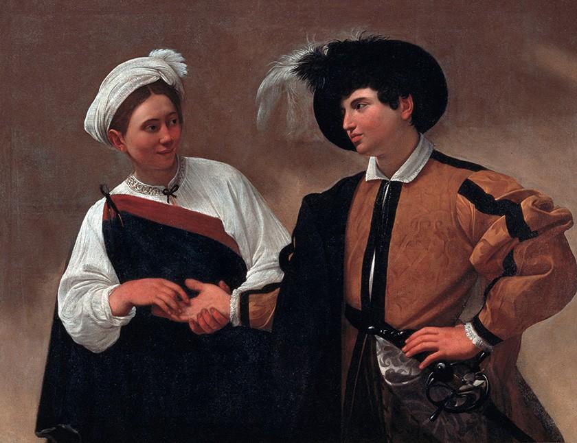 Foto 1 - Lendo Mão Boa Sorte Good Luck Pintura de Caravaggio em TELA