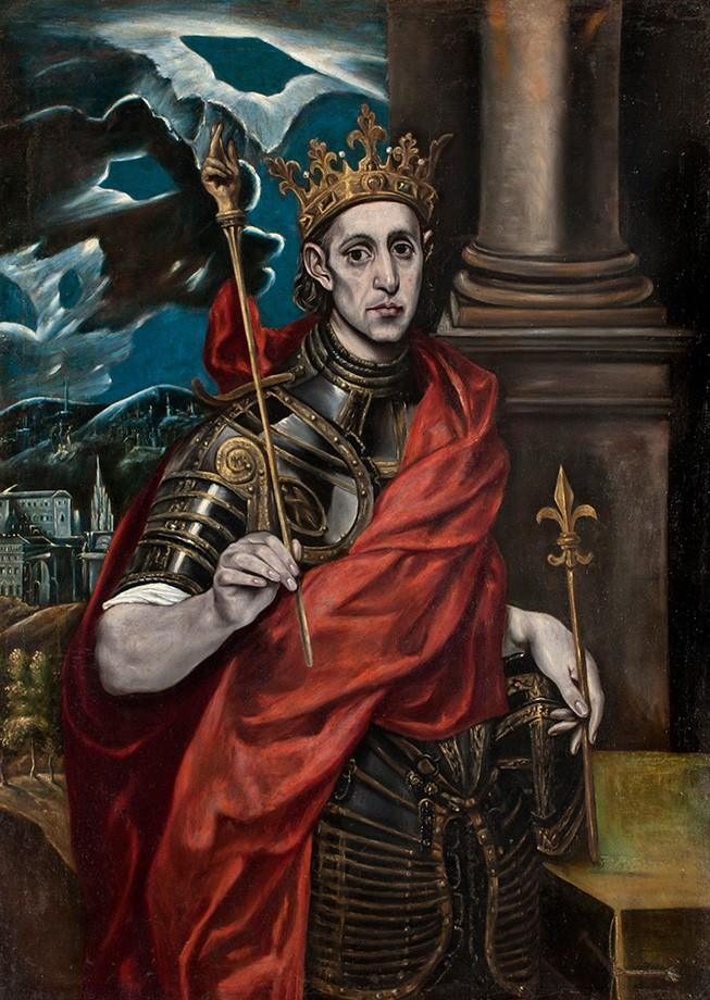 Foto 1 - Luís IX comArmadura CoroaSímbolode uma Flor de Lise Cetro dos Reis da FrançaPintura de El Greco em TELA