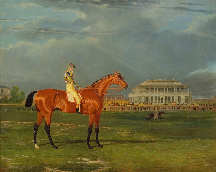 Foto 1 - Memnon com William Scott Up Cavalo de Corrida com Jóquei Hipódromo Pintura de John Frederick Herring em TELA