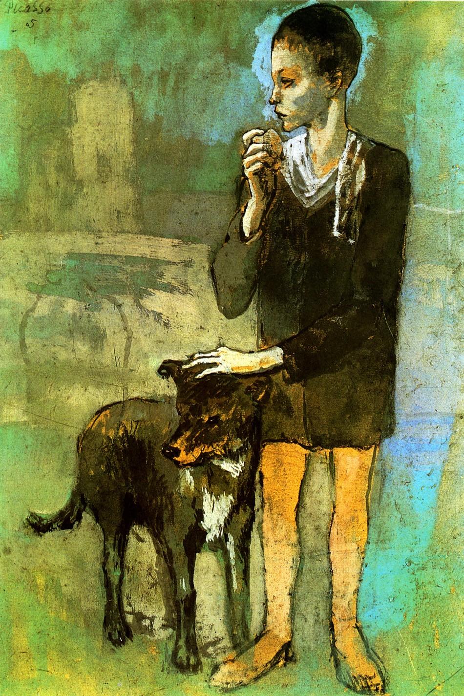 Foto 1 - Menino com Cachorro Pintura Moderna de Pablo Picasso em TELA