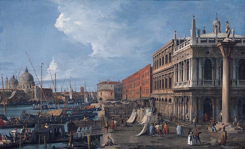 Foto 1 - Molo Cais de Pedra deVenezaItália Pintura de Canaletto em TELA