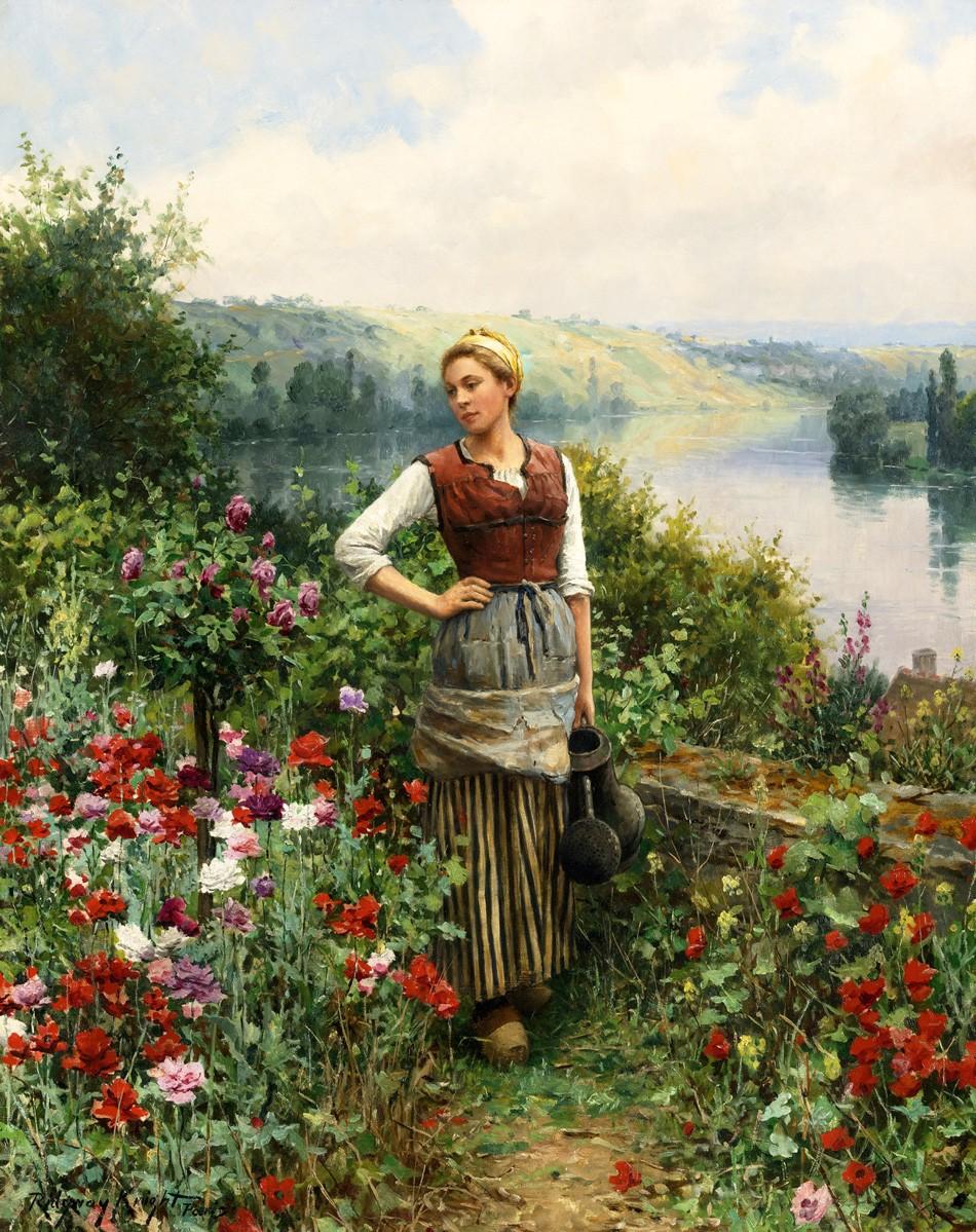 Foto 1 - Mulher Agua Flores Rosas Fazenda Campo Rio Pinturade Daniel Ridgway Knight em TELA