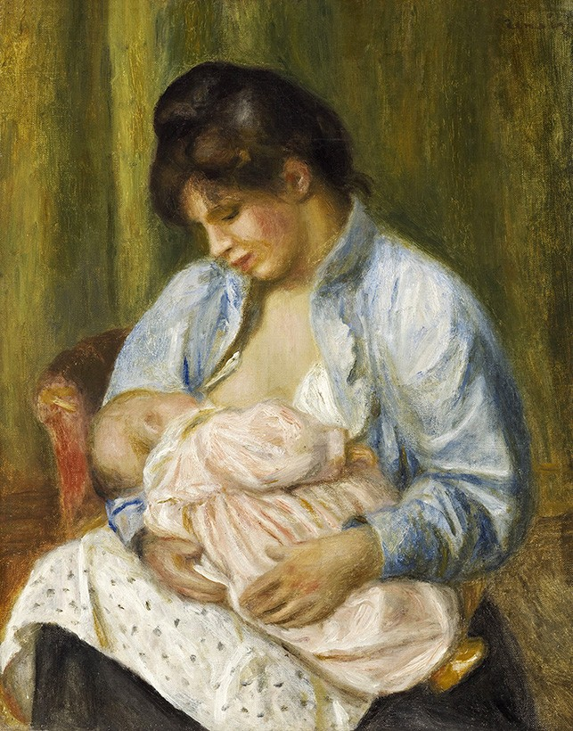 Foto 1 - Mulher AmamentandoCriança Mãe e FilhoMaternidade Pintura de Pierre Auguste Renoir em TELA