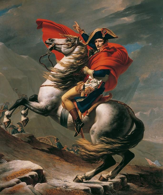 Foto 1 - Napoleão Bonaparte Cruzando os Alpes no Passo de São Bernardo 1800 Pintura de Jacques-Louis David em TELA