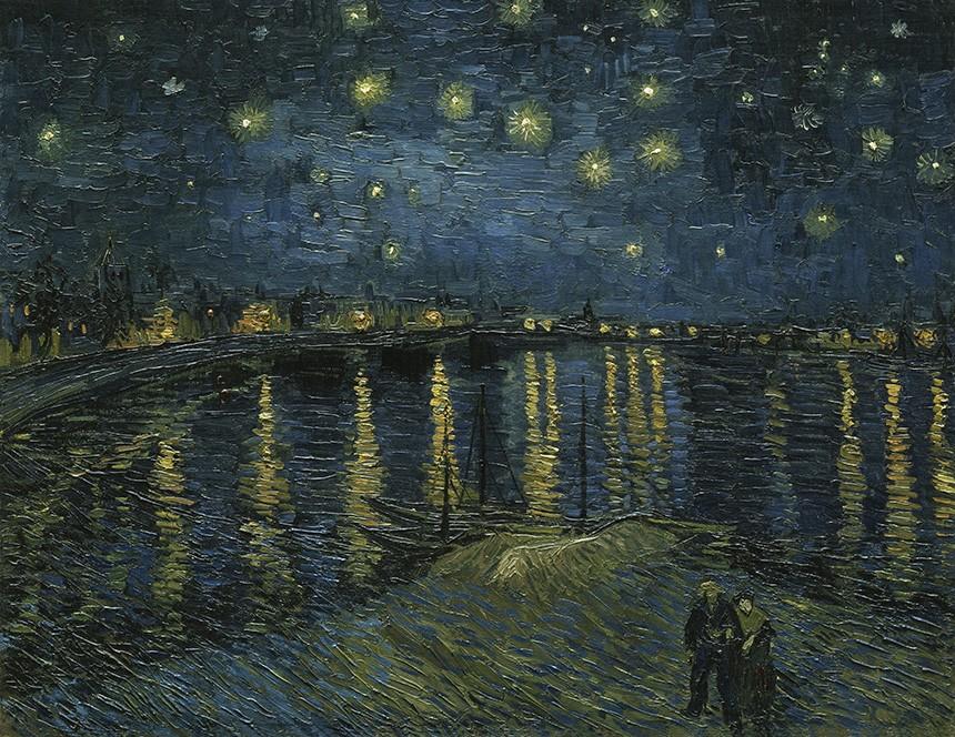 Foto 1 - Noite Estrelada sobre o Rio Rhône França Pintura de Vincent van Gogh em TELA