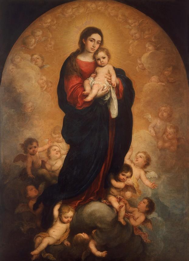 Foto 1 - Nossa Senhora com Menino Jesus e Anjos em Gloria Pintura de Murillo em TELA