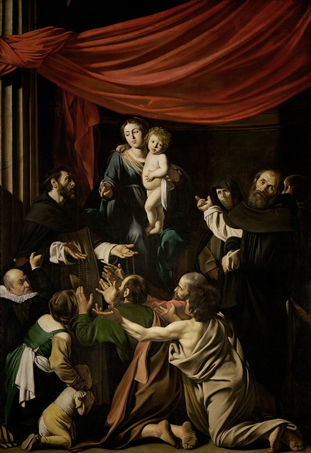 Foto 1 - Nossa Senhora doRosárioPintura de Caravaggio em TELA