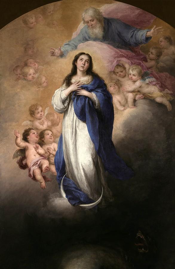 Foto 1 - Nossa Senhora IMACULADA CONCEIÇÃODeus e Anjos Pintura de Murillo em TELA