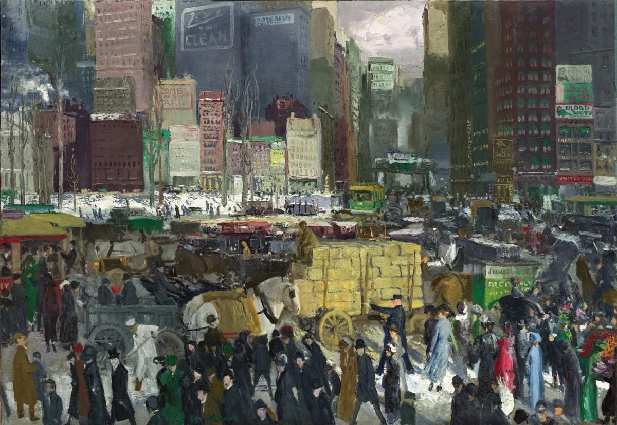 Foto 1 - Nova Iorque Multidão Edifícios Altos Ritmo Frenético da Cidade Vida Moderna Pintura de George Bellows em TELA