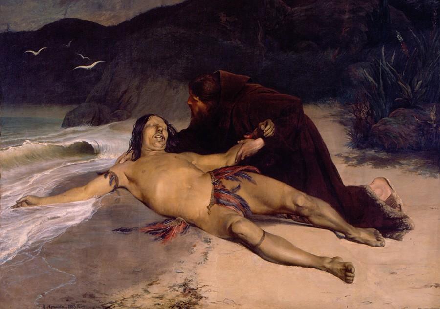 Foto 1 - O Último Tamoio Padre José de Anchieta Segurando Corpo Morto do Índio Aimberê Brasil Pintura de Rodolfo Amoedo em TELA