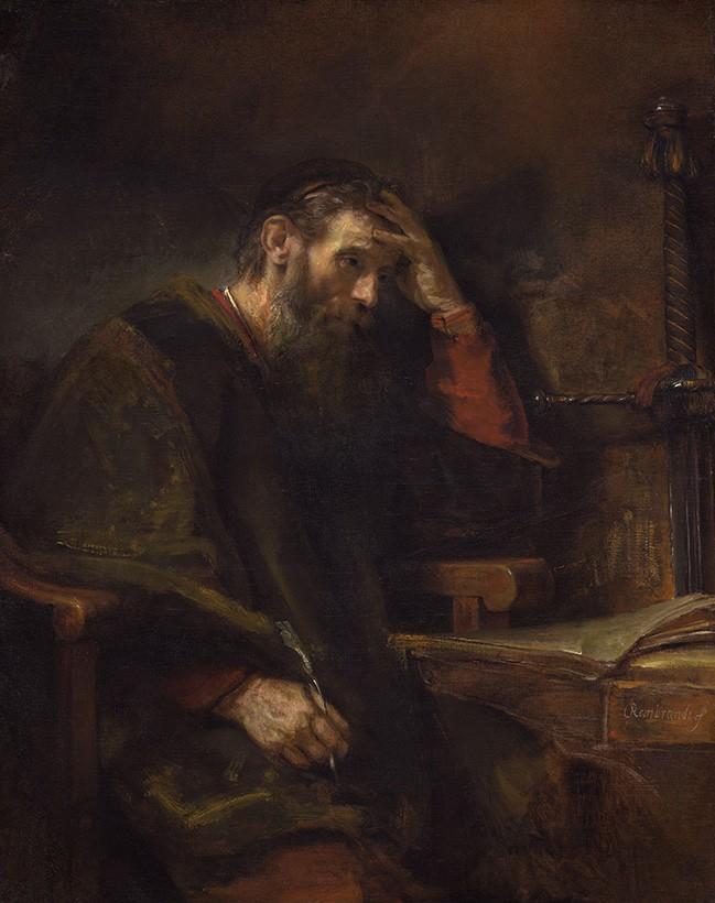 Foto 1 - O Apóstolo Paulo Escrevendo Retrato Pintura de Rembrandt em TELA