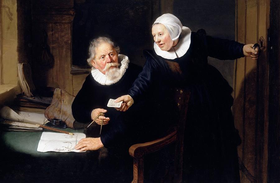 Foto 1 - O Construtor de Navios Holandês e sua Esposa Pintura de Rembrandt em TELA