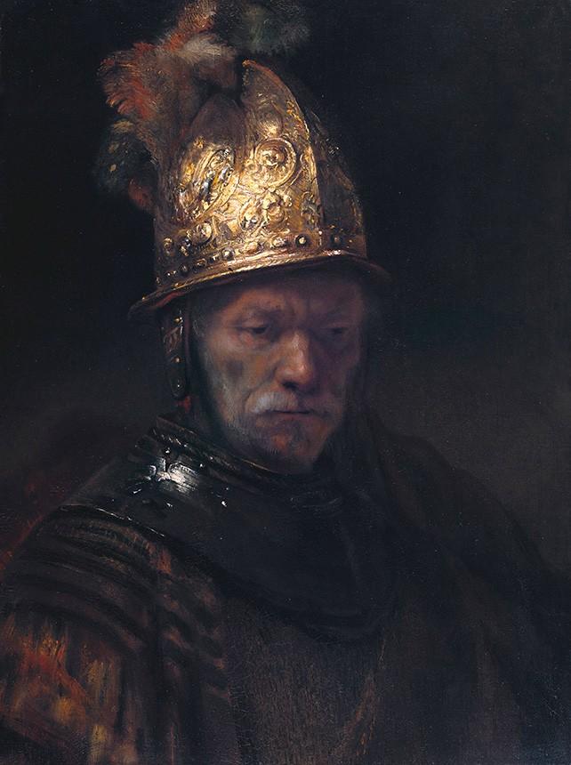 Foto 1 - O Homem com o Capacete de Ouro Retrato Pintura de Rembrandt em TELA