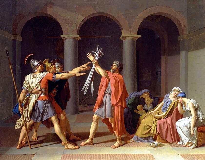Foto 1 - O Juramento dos Horácios Três Irmãos Fazendo Saudação Romana Patriotismo Pintura de Jacques-Louis David em TELA