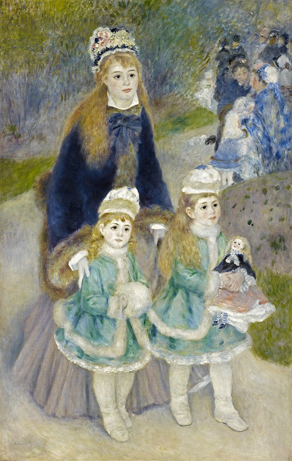 Foto 1 - O Passeio Mãe e Filhas Jardins Paris Moda FrançaPintura de Pierre Auguste Renoir em TELA