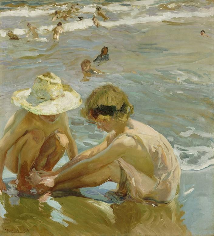 Foto 1 - O Pé FeridoCrianças Brincando Praia Mar Verão Espanha Pintura de Joaquín Sorolla em TELA