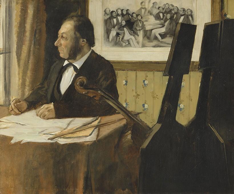 Foto 1 - O VioloncelistaMúsico Violoncelo MúsicaPintura de Edgar Degas em TELA
