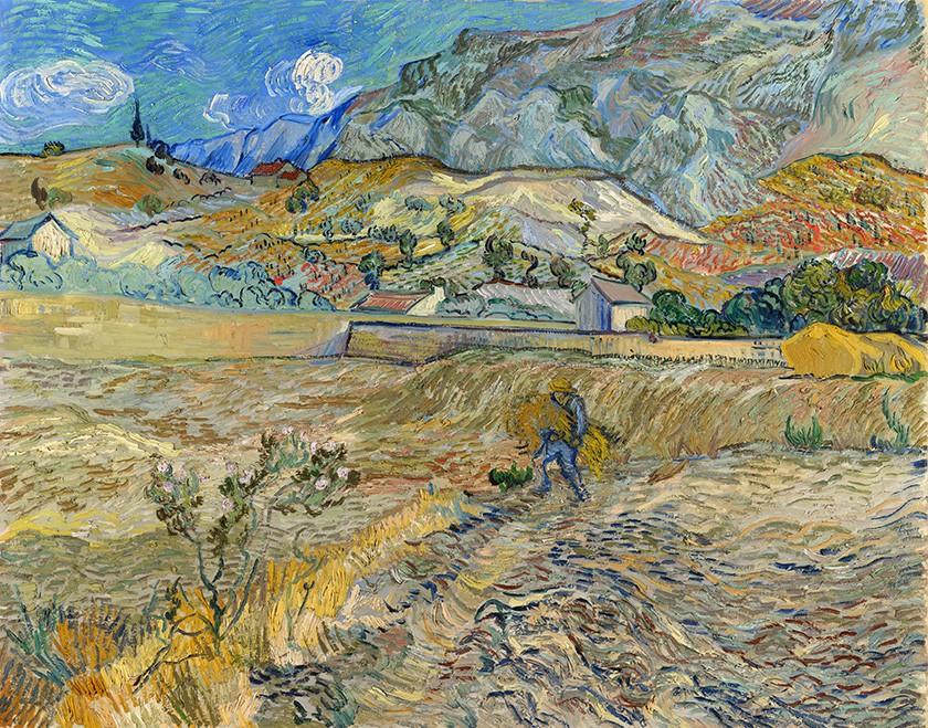 Foto 1 - Paisagem em Saint-Rémy França Camponês no Campo Pintura de Vincent van Gogh em TELA