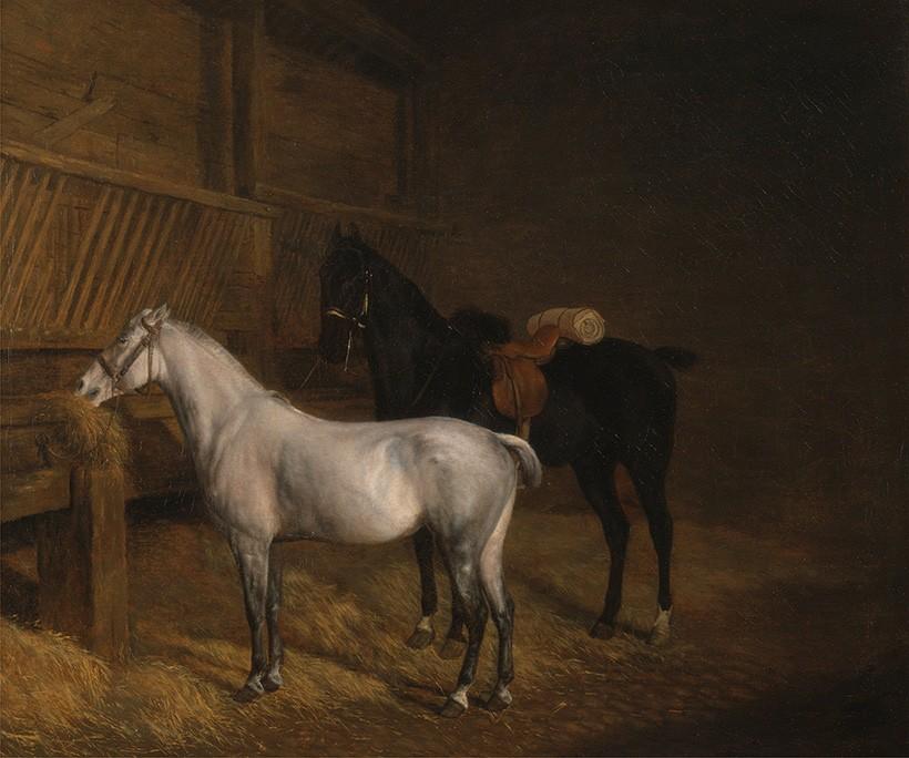 Foto 1 - Pequeno CavaloBranco e Grande Cavalo Preto em um Estábulo Cavalos AnimaisPintura de Jacques-Laurent Agasse em TELA