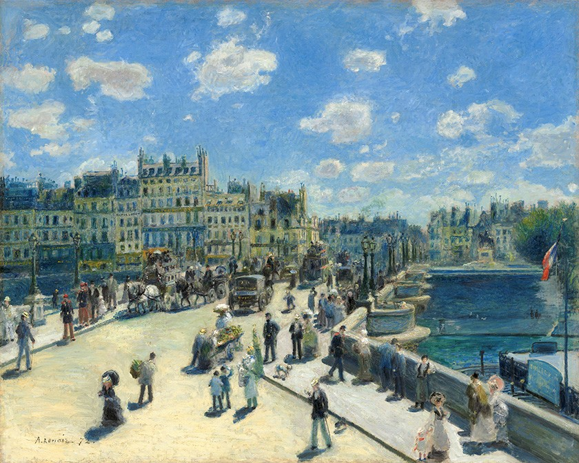 Foto 1 - Pont Neuf Ponte Nova Paris Pintura de Pierre Auguste Renoir em TELA