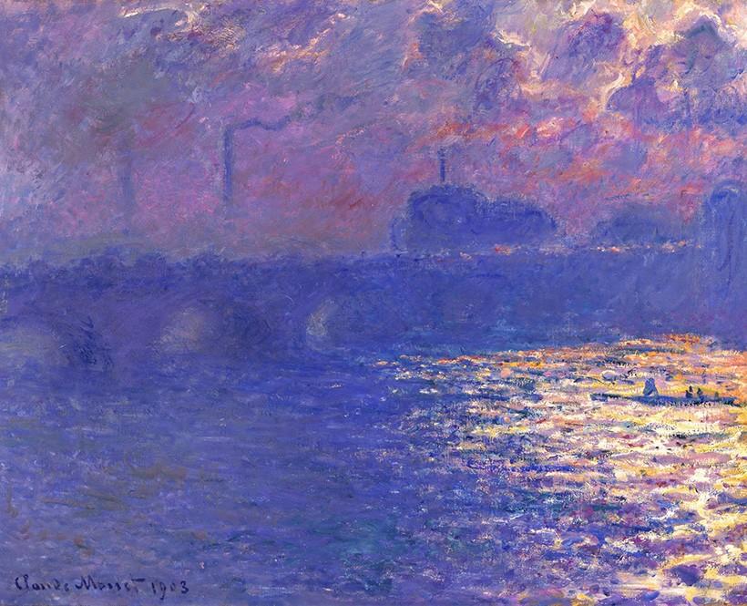 Foto 1 - Ponte de Waterloo Efeito da Luz Solar Névoa Londres Pintura de Claude Monet em TELA