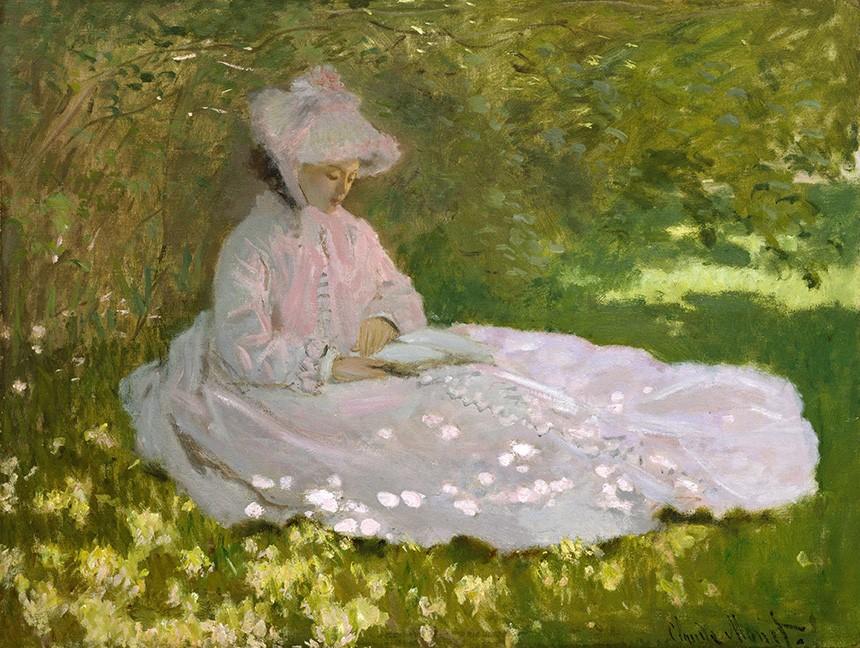 Foto 1 - Primavera Mulher Sentada sobÁrvore Lendo LivroPintura de Claude Monet em TELA