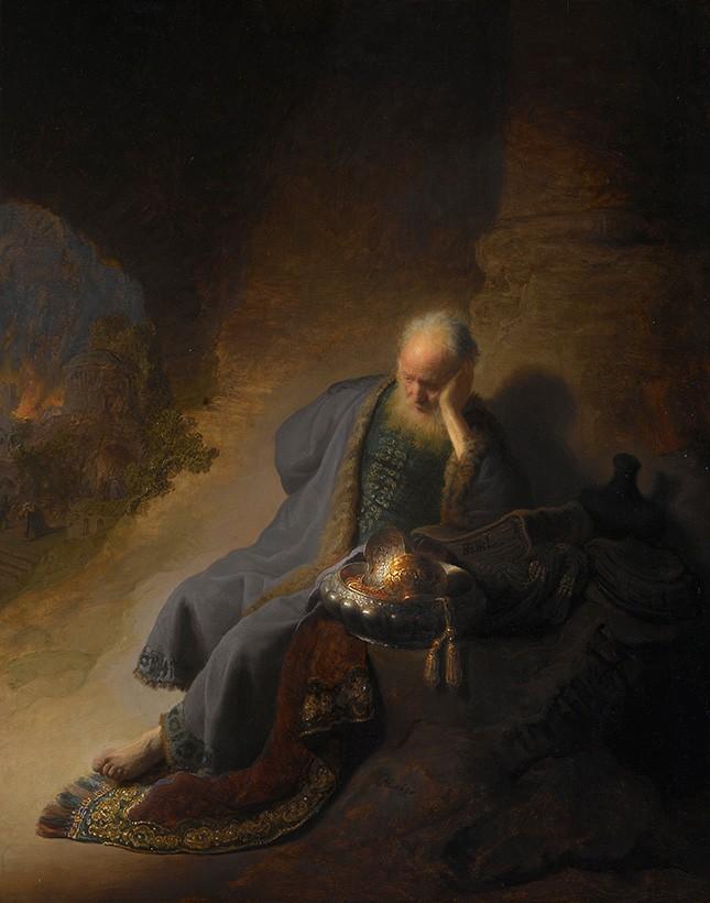 Foto 1 - Profeta JeremiasLamentando a Destruição de Jerusalém Pintura de Rembrandt em TELA