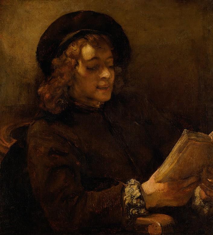 Foto 1 - Retrato de Titus van Rijn Filho do Artista Lendo Livro Pintura de Rembrandt em TELA