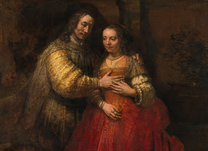 Foto 1 - RetratoIsaac e Rebeca A Noiva Judaica Pintura de Rembrandt em TELA