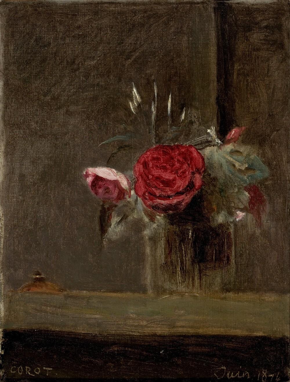 Foto 1 - Rosas em um Copo de Vidro Flores 1874 Pintura de Camille Corot em TELA