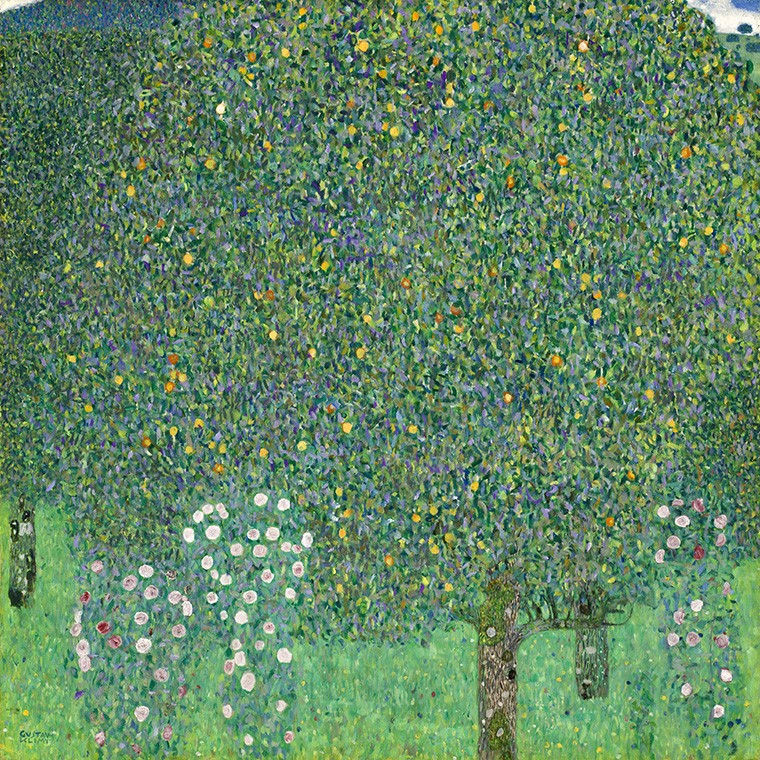 Foto 1 - Rosebush Arbusto de Rosas Flores Embaixo de ÁrvoresPintura de Gustav Klimt em TELA