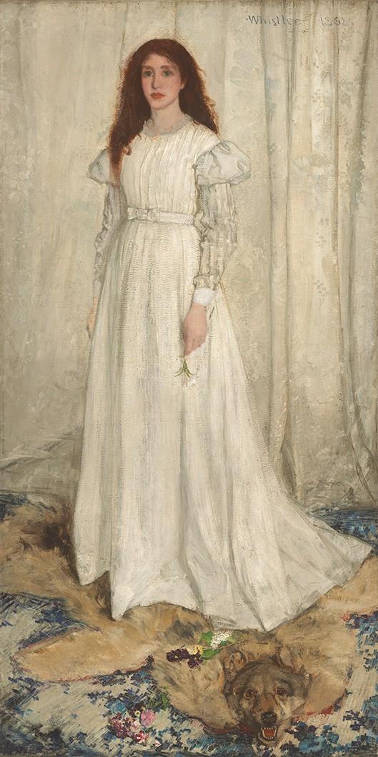 Foto 1 - Sinfonia em BrancoNº 1 Menina de Vestido Branco Lírio Branco na Mão Cortina Branca Pintura de Whistler em TELA