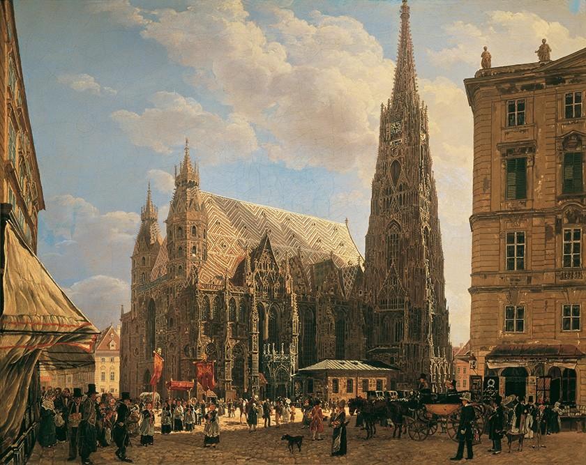 Foto 1 - Stephansdom Catedral de Santo Estêvão Viena Áustria 1831 Pintura de Rudolf Von Alt em TELA