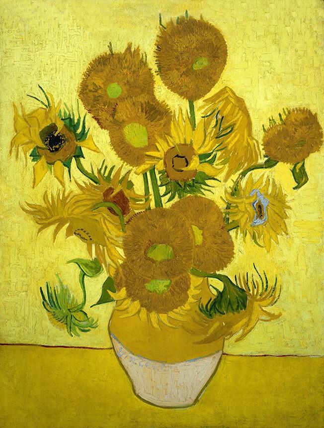 Foto 1 - Sunflowers Girassóis no Vaso Flores Pintura de Vincent van Gogh em TELA