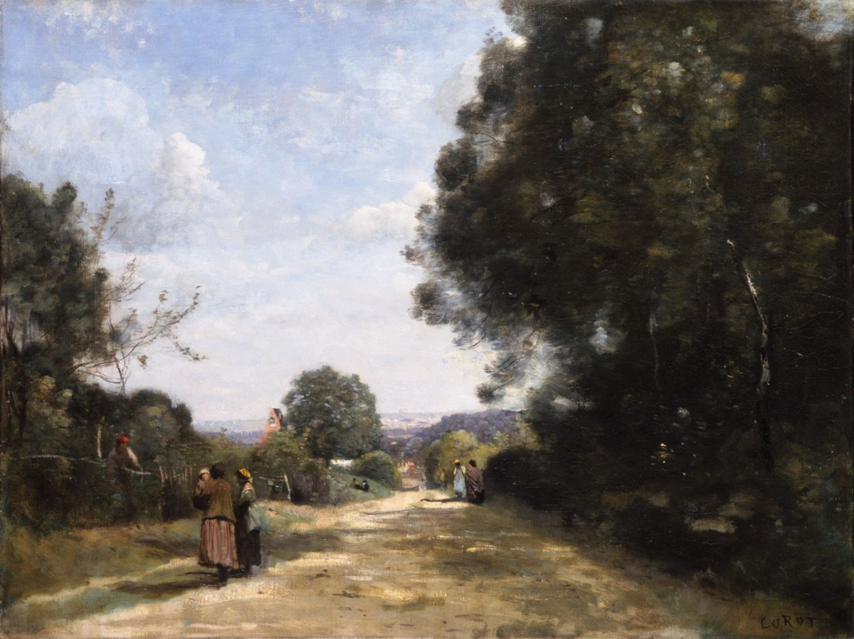 Foto 1 - Sèvres-BrimborionVista emDireção aParis Paisagem 1864 França Pintura de Camille Corot em TELA