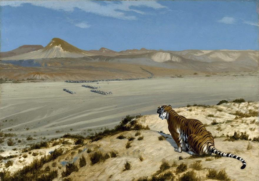 Foto 1 - Tigre Observando Caravana Pintura de Gerome em TELA