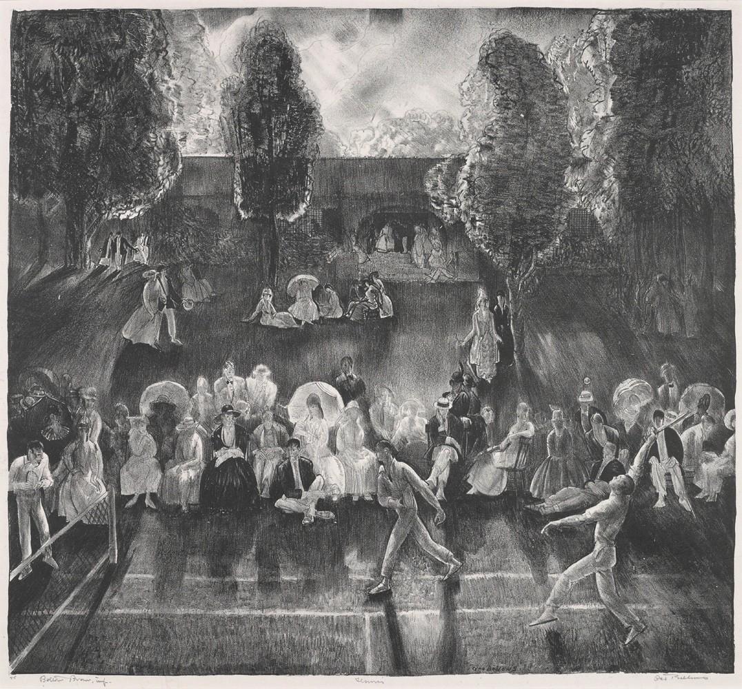 Foto 1 - Torneio de Tênis 1920Esporte Pintura de George Bellows em TELA