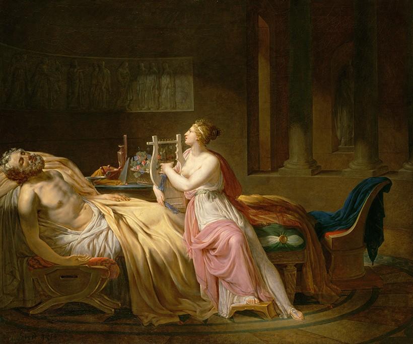 Foto 1 - Tristeza de Calíope pela Morte de Homero Musa e Poeta Grego Pintura de Jacques-Louis David em TELA