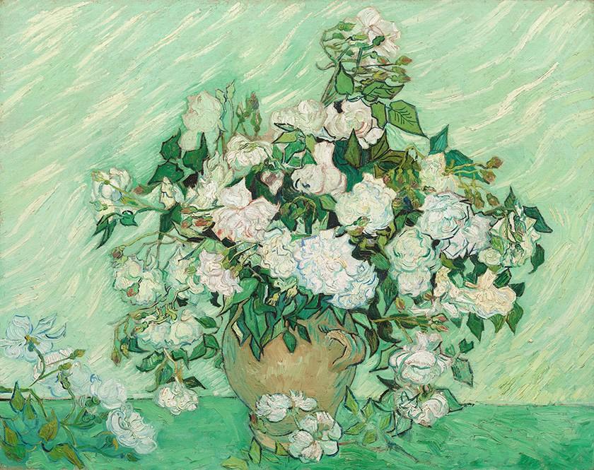 Foto 1 - Vaso com Rosas Cor-de-rosa Flores Pintura de Vincent van Gogh em TELA