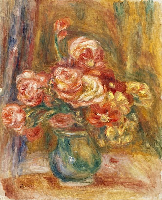 Foto 1 - Vaso de Rosas FloresPintura de Pierre Auguste Renoir em TELA