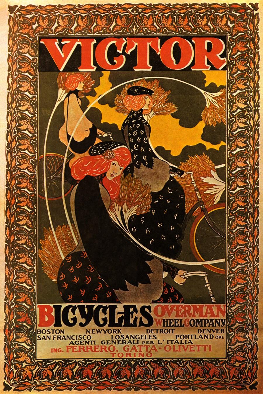 Foto 1 - Victor Overman Garota BicicletaVintage Cartaz Poster em Papel Matte