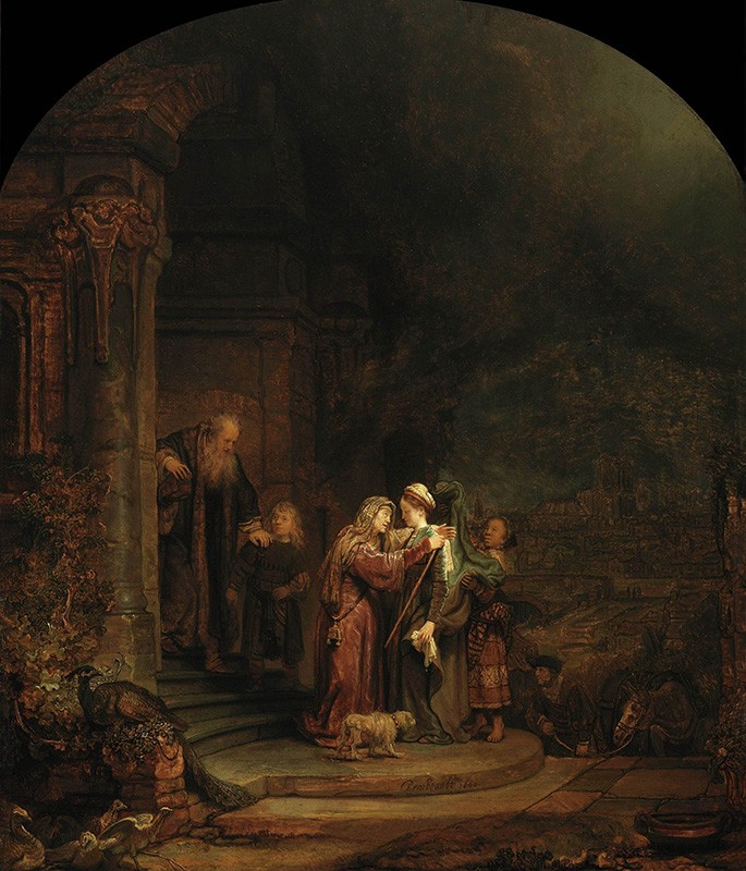 Foto 1 - Visitação Visita de Maria Grávida à sua Prima IsabelBíblia Pintura de Rembrandt em TELA