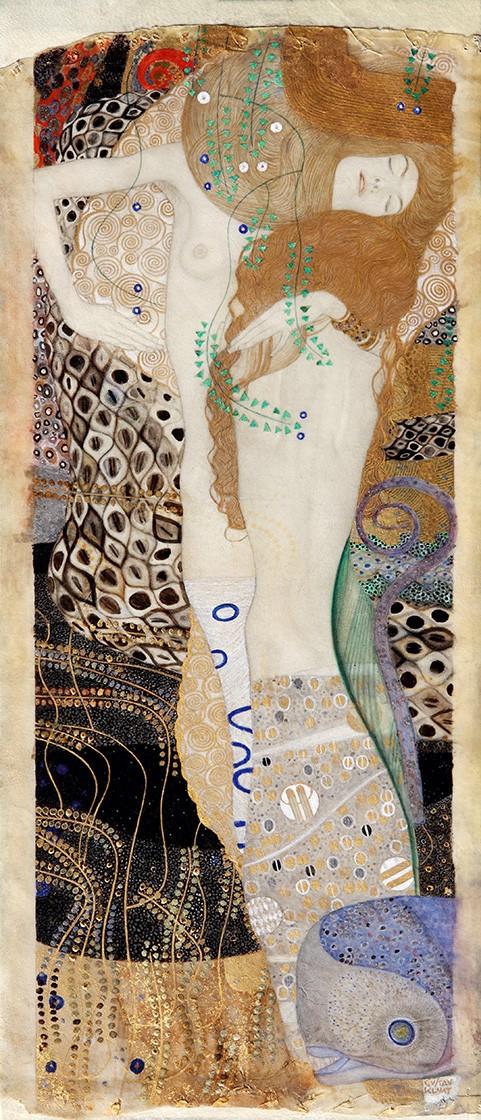 Foto 1 - Water Serpants Serpente de Agua Pintura de Gustav Klimt em TELA