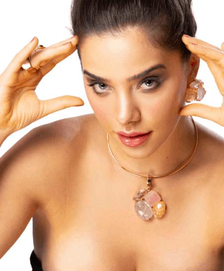 Foto 1 - Aro Caminho Das Pedras - Cristal - Quartzo Rosa e Citrino- Dourado